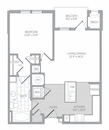 A4 Floor Plan at AVE Newtown Square, Newtown Square, PA, 19073