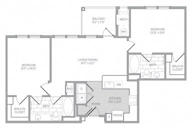 B1 Floor Plan at AVE Newtown Square, Newtown Square, PA
