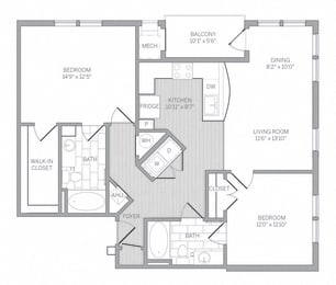 B3 Floor Plan at AVE Newtown Square, Newtown Square, Pennsylvania