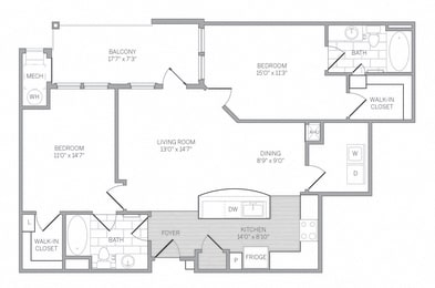 B4 Floor Plan at AVE Newtown Square, Newtown Square