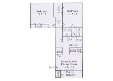 2 bedroom 1 bathroom floorplan,at Cambridge Court Apartments, Nacogdoches