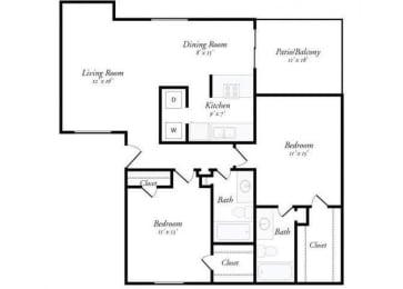 2 Bed 2 Bath - 2C Floorplan at Summit Ridge Apartments, Texas