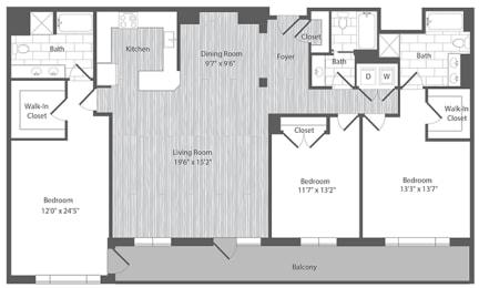 3 bedroom apartments with balcony in Merrifield VA
