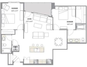 B3 Floor Plan at 2020 Lawrence, DENVER, Colorado