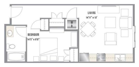 A2 Floor Plan at 2020 Lawrence, Colorado