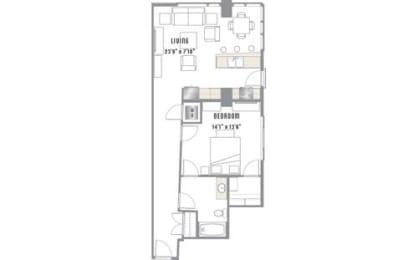 A6 Floor Plan at 2020 Lawrence, DENVER, 80205