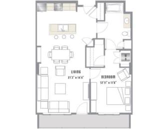A7 Floor Plan at 2020 Lawrence, DENVER, Colorado