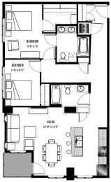B2 Floor Plan at 2020 Lawrence, DENVER, CO, 80205