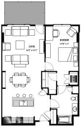 A9 Floor Plan at 2020 Lawrence, Colorado, 80205