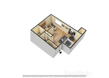 Large Studio 3d Floor Plan at Hamilton Square Apartments, Westfield, IN, 46074
