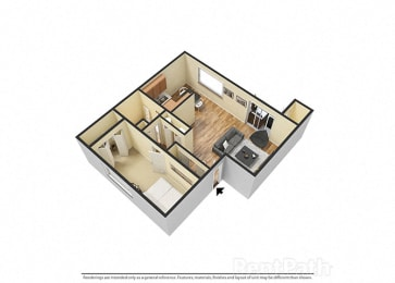 One Bedroom Attractive Floor Plan at Hamilton Square Apartments, Westfield
