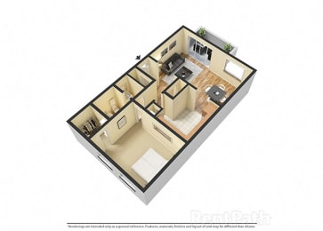 Attractive 1 Bedroom Garden Floor Plan at Lake Camelot Apartments, Indianapolis, IN