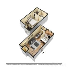 1 Bedroom Townhouse Available at Lake Marina Apartments, Indianapolis, 46229