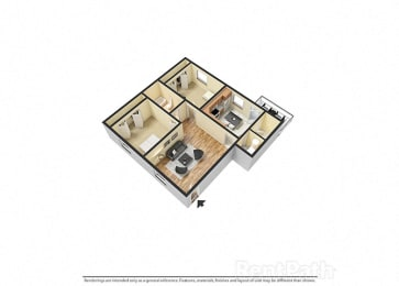 2 Bedroom 1 Bathroom 3D Spacious Floor plan at Sandstone Court Apartments, Greenwood, 46142