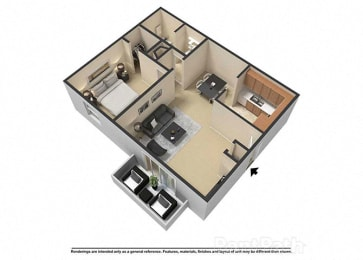 1 Bedroom 1 Bath 3D Floor Plan at Waterstone Place Apartments, Indianapolis, Indiana