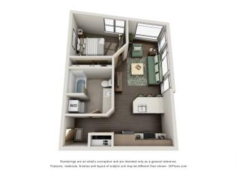 Floor Plan  One Bedroom   One Bathroom at Link, Seattle