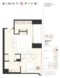A2PH Floor Plan at Eight O Five, Chicago