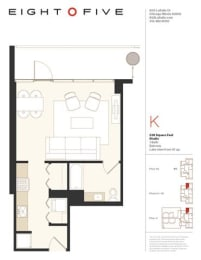 Studio1E Floor Plan at Eight O Five, Chicago, IL