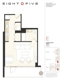 Studio1W Floor Plan at Eight O Five, Chicago, Illinois