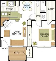 A2 1 Bedroom 1 Bath Floorplan at Cypress Ridge Apartments, Houston, Texas