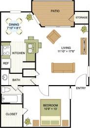 A3 1 Bedroom 1 Bath Floorplan at Cypress Ridge Apartments, Houston