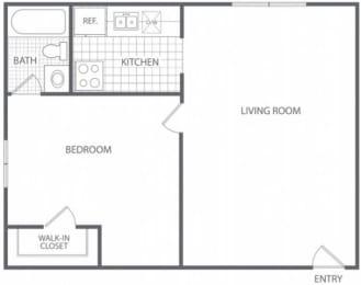 Floor Plan 1 Bed 1 Bath - HC-B