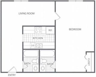 Floor Plan 1 Bed 2 Bath - HC-C