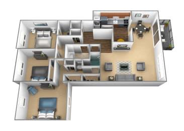 3 bedroom 2 bathroom floor plan at Charlesgate Apartments