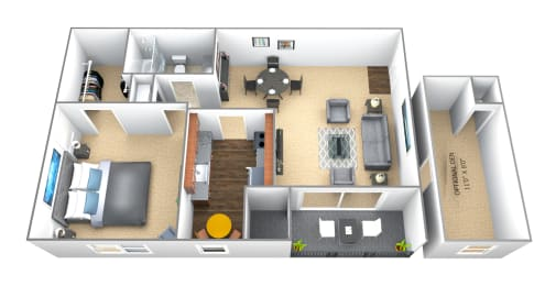 1 bedroom 1 bathroom floor plan at Seminary Roundtop Apartments in Towson MD