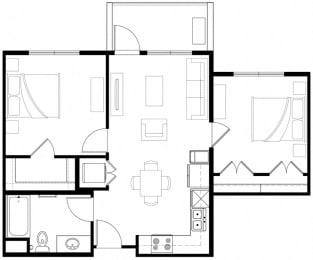2x2 Floor Plan Vintage at the Crossing l Senior Apartments in Reno, NV 89521