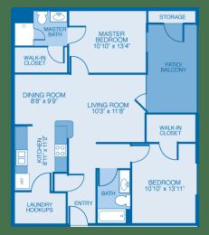 Birchwood Floor Plan at Maple Brook Apartments, Louisville, KY