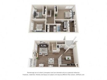 Coleridge Town Home Three Bedroom Floor Plan at Fairlane Woods Apartments, Dearborn, MI, 48126