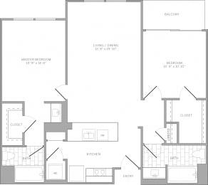 B3 Floor Plan at AVE Emeryville at Bay Street, California, 94608