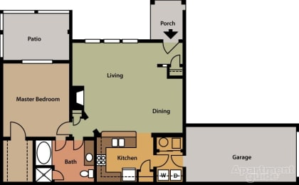 Floor Plan  One Bedroom with attached one car garage