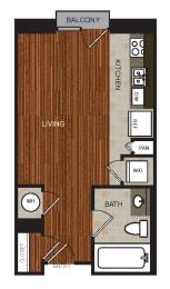 Studio 1 Floor Plan at Berkshire Riverview, Texas