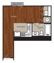 Studio 2 Floor Plan at Berkshire Riverview, Austin, 78741