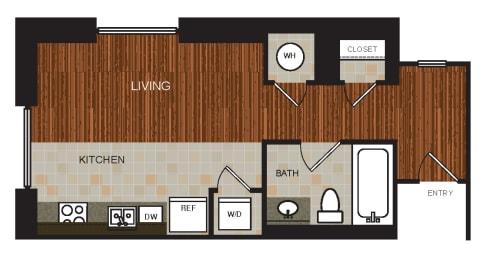 Studio 3 Floor Plan at Berkshire Riverview, Austin, Texas