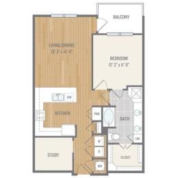 One-Bedroom Floor Plan at Berkshire Auburn, Texas