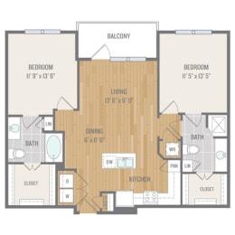 Two-Bedroom Floor Plan at Berkshire Auburn, Texas, 75248