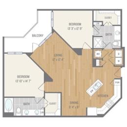 Two-Bedroom Floor Plan at Berkshire Auburn, Dallas, Texas