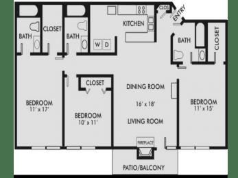 Floor Plan Hampton 3-3