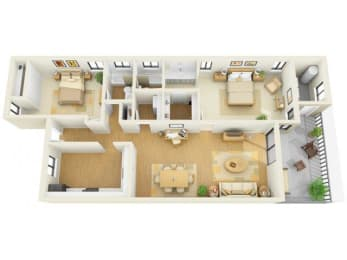 Bay Club 2 bedroom 1250 sq ft floor plan with kitchen, living/dining, 2 bedrooms, 2 bathrooms, closets, balcony/patio and storage