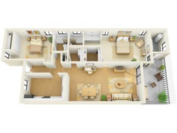 Bay Club 2 bedroom 1275 sq ft floor plan with kitchen, dining/living, 2 bedrooms, 2 bathrooms, closets, balcony/patio and storage