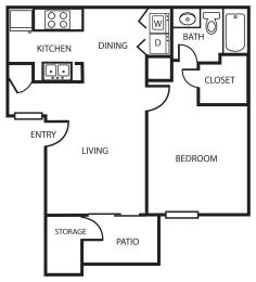 Enclave one bedroom apartment A1 2D floor plan