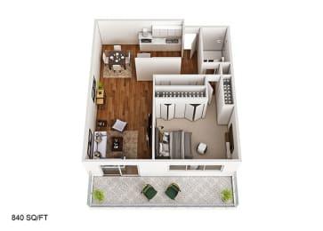 1 Bedroom 1 Bath Floor Plan at CityView on Meridian, Indiana