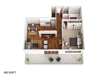 1 Bed 1 Bathroom Floor Plan at CityView on Meridian, Indiana, 46208