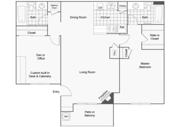 1 Bedroom 2 Bathroom Floor Plan, at Sedona at Lone Mountain, North Las Vegas, NV 89032