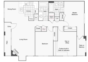 2 bed 2 bath with den floor plan, Sedona at Lone Mountain , NV, 89032