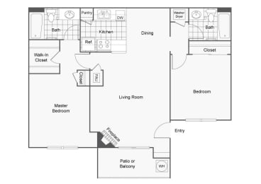 2 Bed 2 Bath Floor Plan, in Sedona at Lone Mountain , NV, Lone Mountain Rd