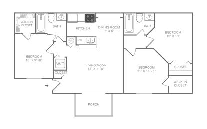 Coral Bay 3 Bedroom 2 Bath Floor Plan Image